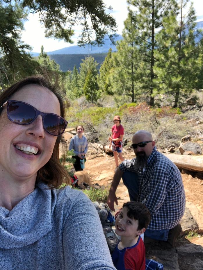 eggs with emotions, child laughing, family taking a hike with their dog